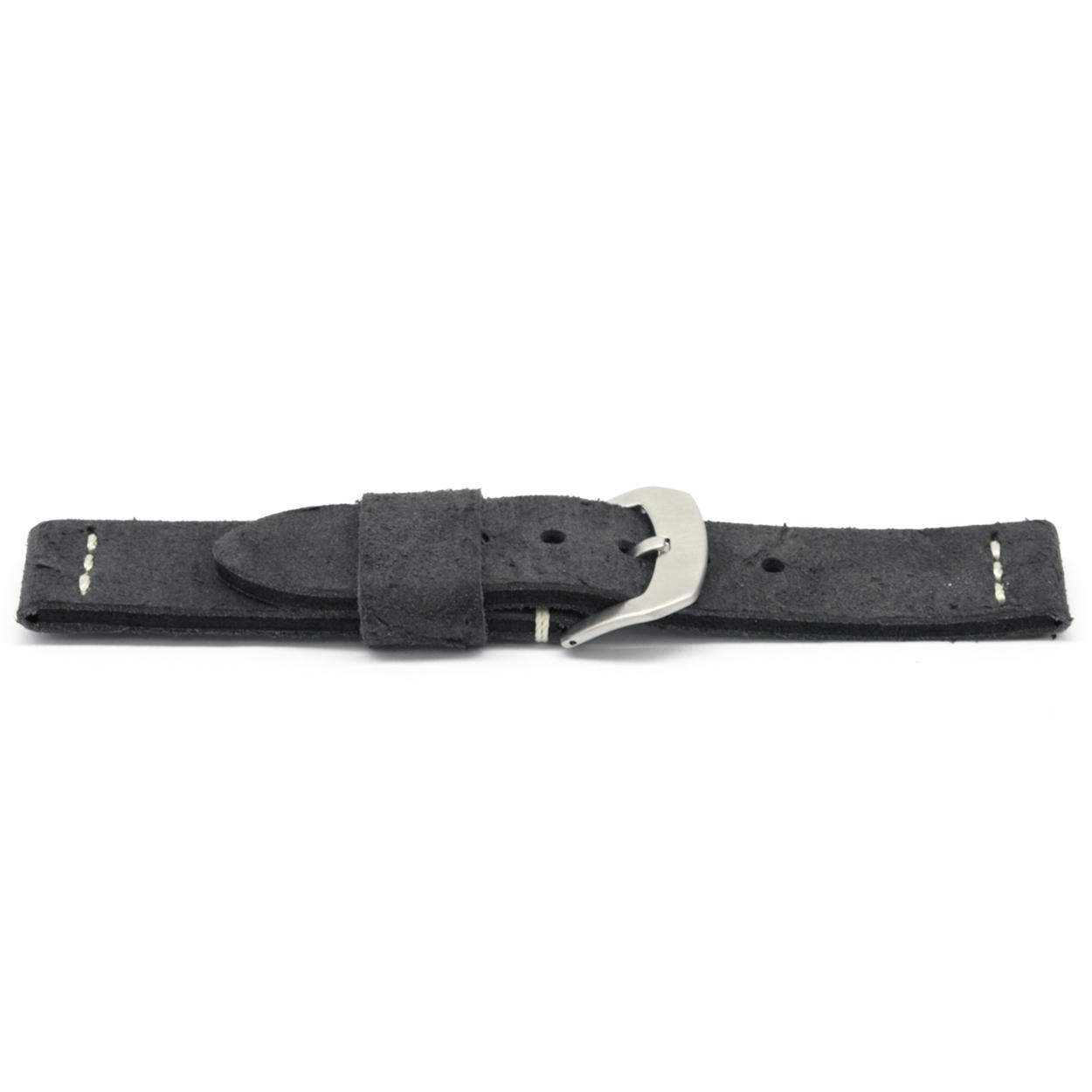 Horlogeband leder zwart 20mm EX-G127