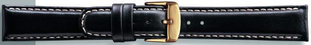 Kwaliteits lederen band zwart met wit stiksel 18mm PVK-147
