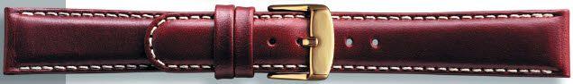 Kwaliteits lederen band middel bruin met wit stiksel 18mm PVK-147