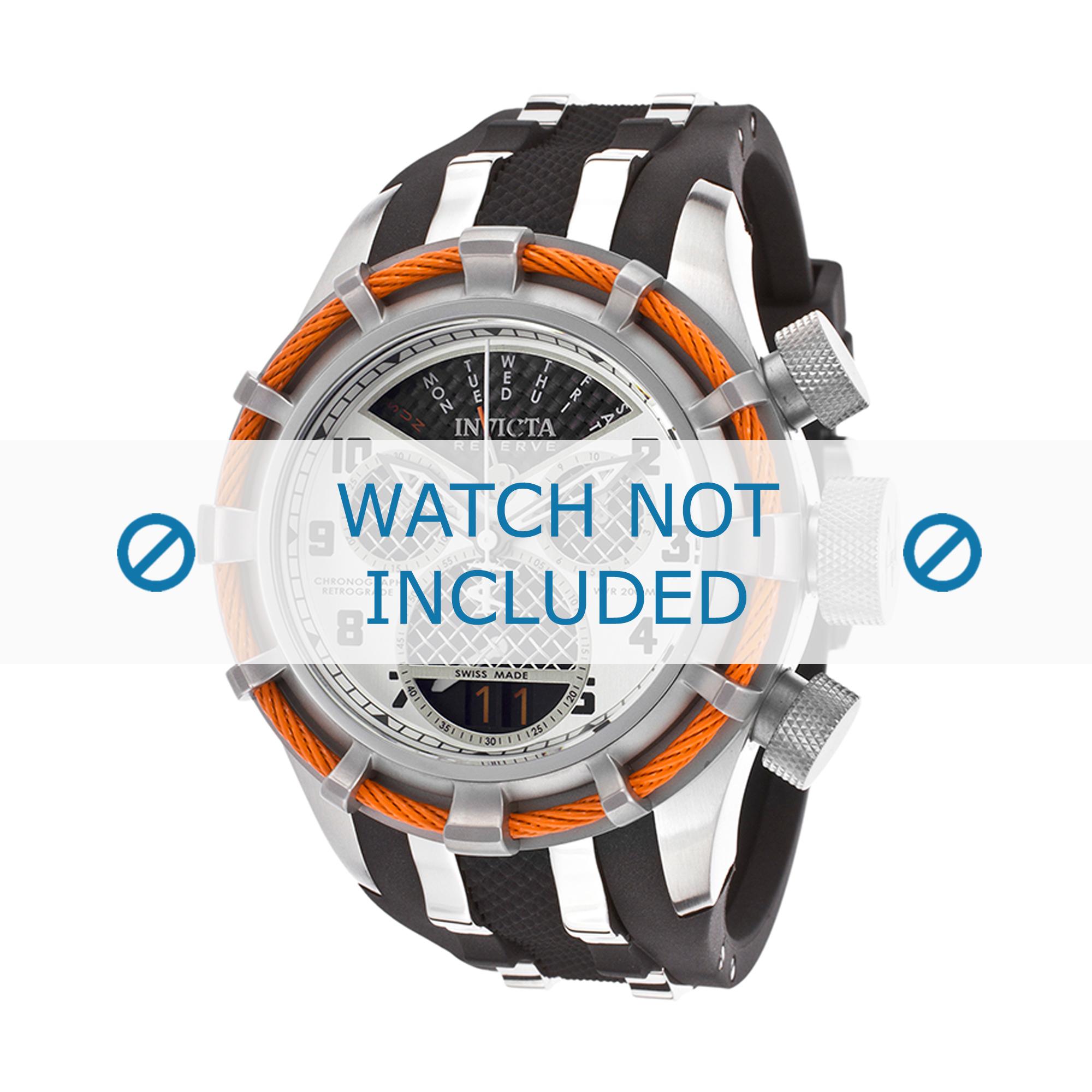Invicta horlogeband 17466 Bolt Silicoon Zwart 26mm