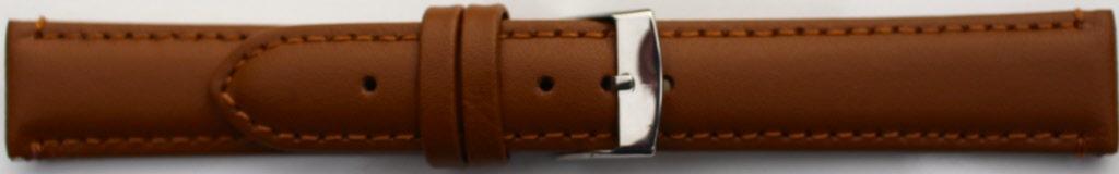 Horlogeband 302.03.18 XL Leder Cognac 18mm + bruin stiksel
