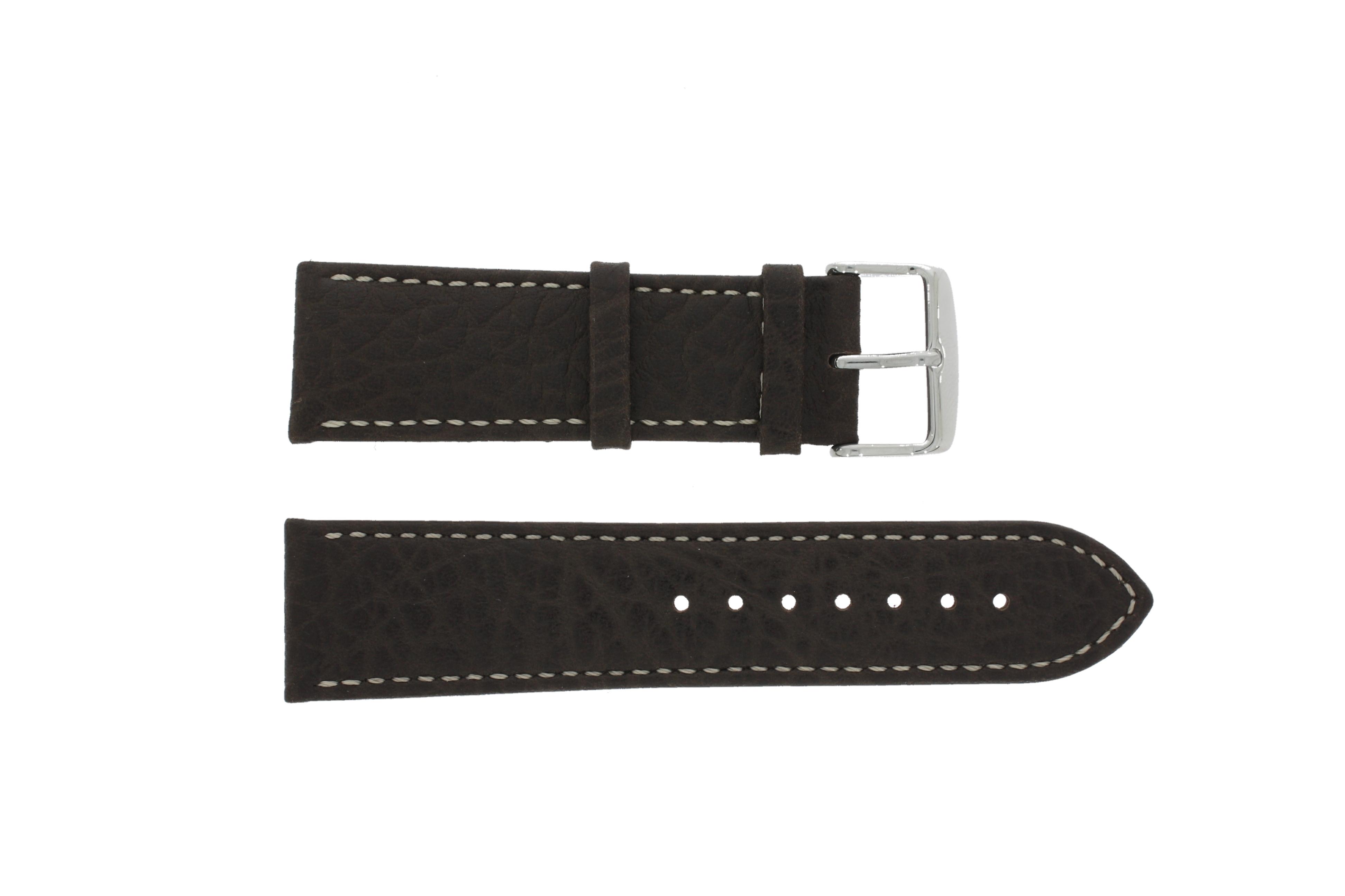 Horlogeband 307.02 XL Leder Bruin 24mm + wit stiksel