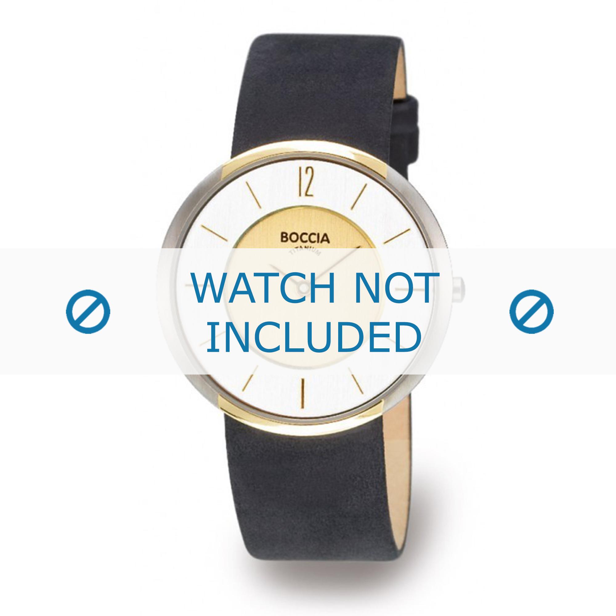 Boccia horlogeband 3114-14 (BO3114-14-40ZW) Leder Zwart