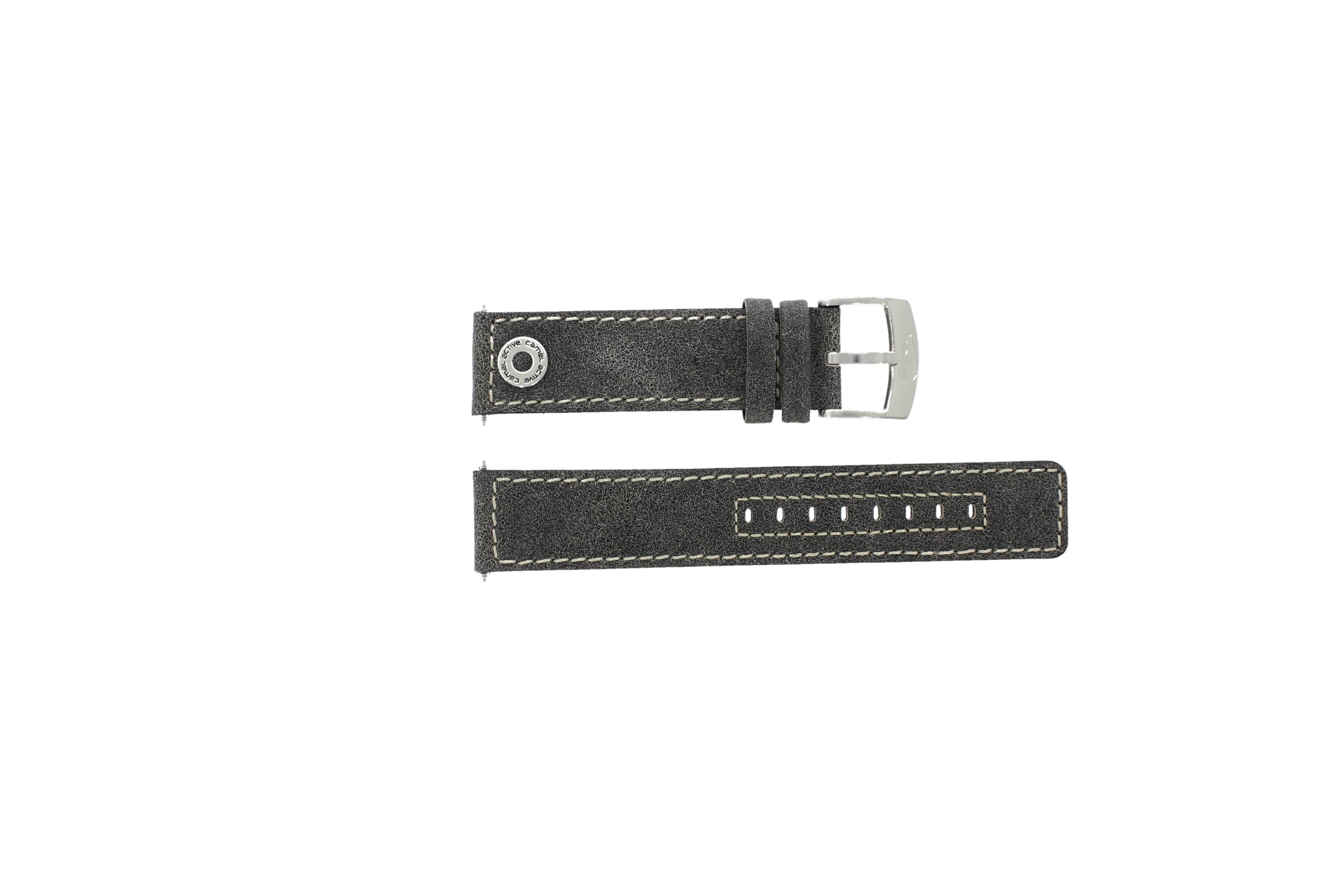 Camel horlogeband 3120-3129 / 3520-3529 Leder Grijs 22mm + wit stiksel
