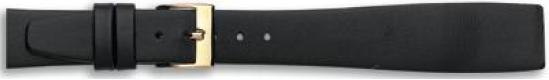 Klep horlogeband zwart leder 18mm
