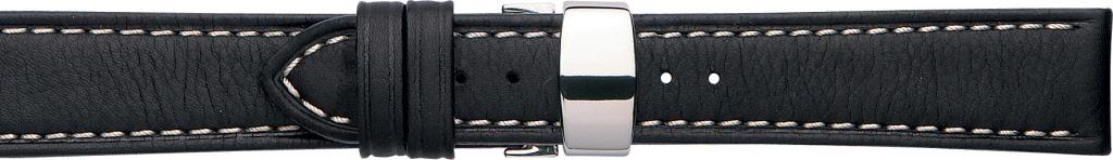 Horlogeband 630.01.24 Leder Zwart 24mm + wit stiksel