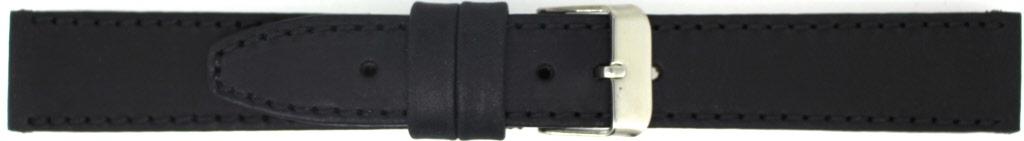 Horlogeband 815.01.22 Leder Zwart 22mm + zwart stiksel