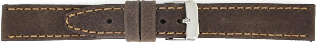 Horlogeband 815.02.22 Leder Bruin 22mm + bruin stiksel