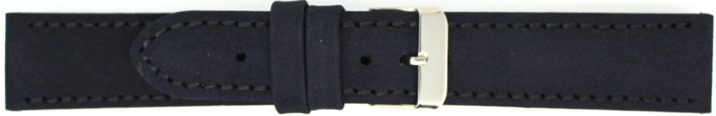 Horlogeband 825.01.24 Leder Zwart 24mm + zwart stiksel