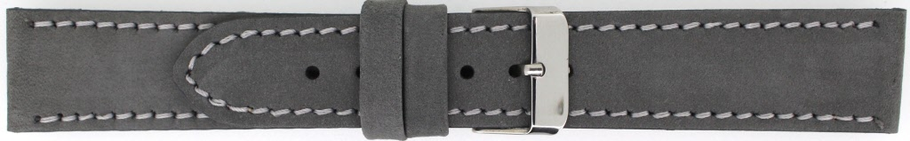 Horlogeband 825.07a.22 Leder Grijs 22mm + grijs stiksel