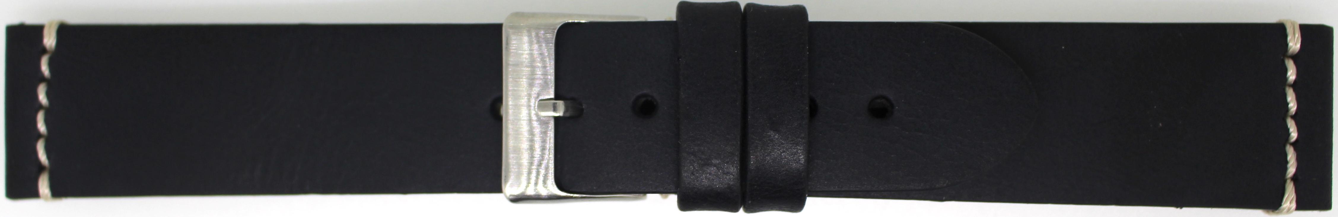 Horlogeband 845.01.20 Leder Zwart 20mm + wit stiksel