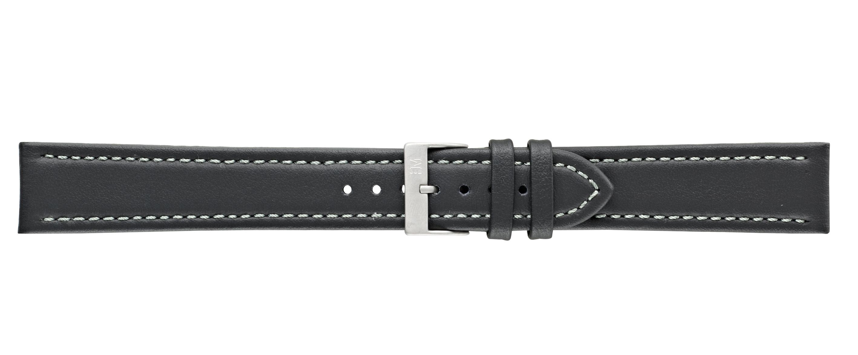 Morellato horlogeband Tipo Locman XL K2195432019SB22 / PMK019LOCMAN22 Glad leder Zwart 22mm + wit stiksel