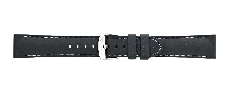Morellato horlogeband Carezza U3844187019CR22 / PMU019CAREZZ22 Rubber Zwart 22mm + wit stiksel