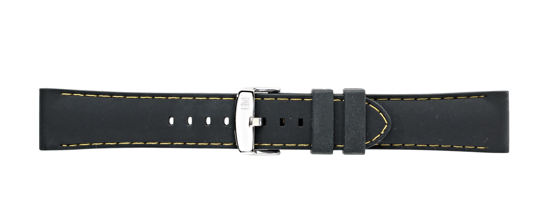 Morellato horlogeband Carezza U3844187897CR22 / PMU897CAREZZ22 Rubber Zwart 22mm + geel stiksel