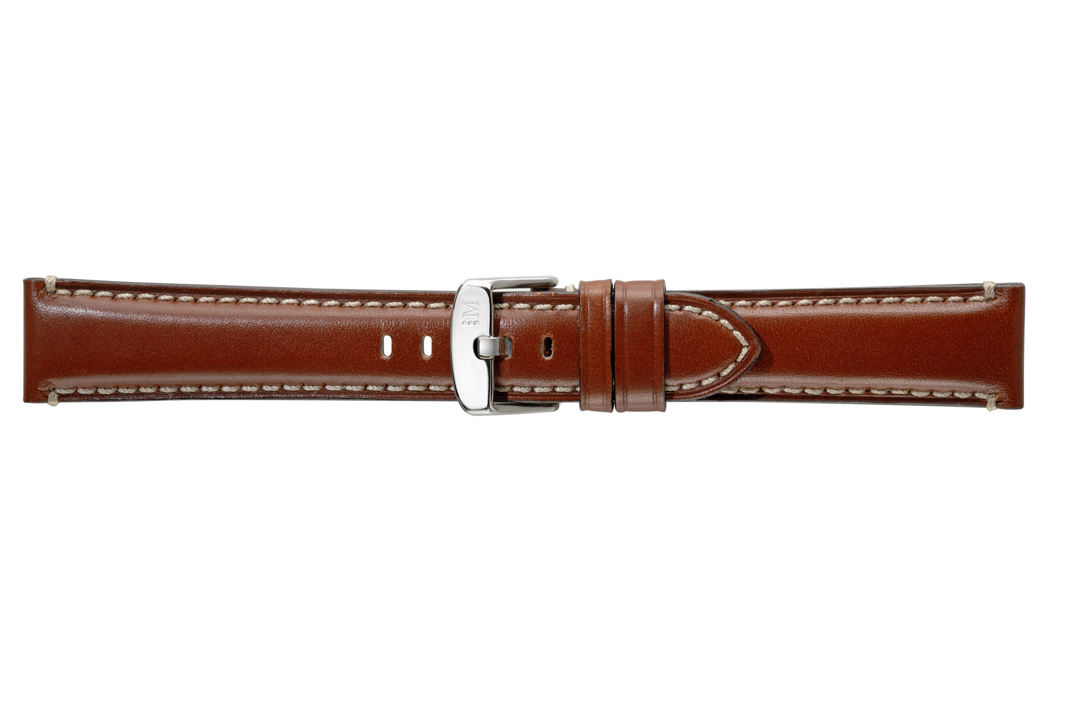 Morellato horlogeband Giorgione X4272B12041CR22 / PMX041GIORGI22 Glad leder Bruin 22mm + wit stiksel
