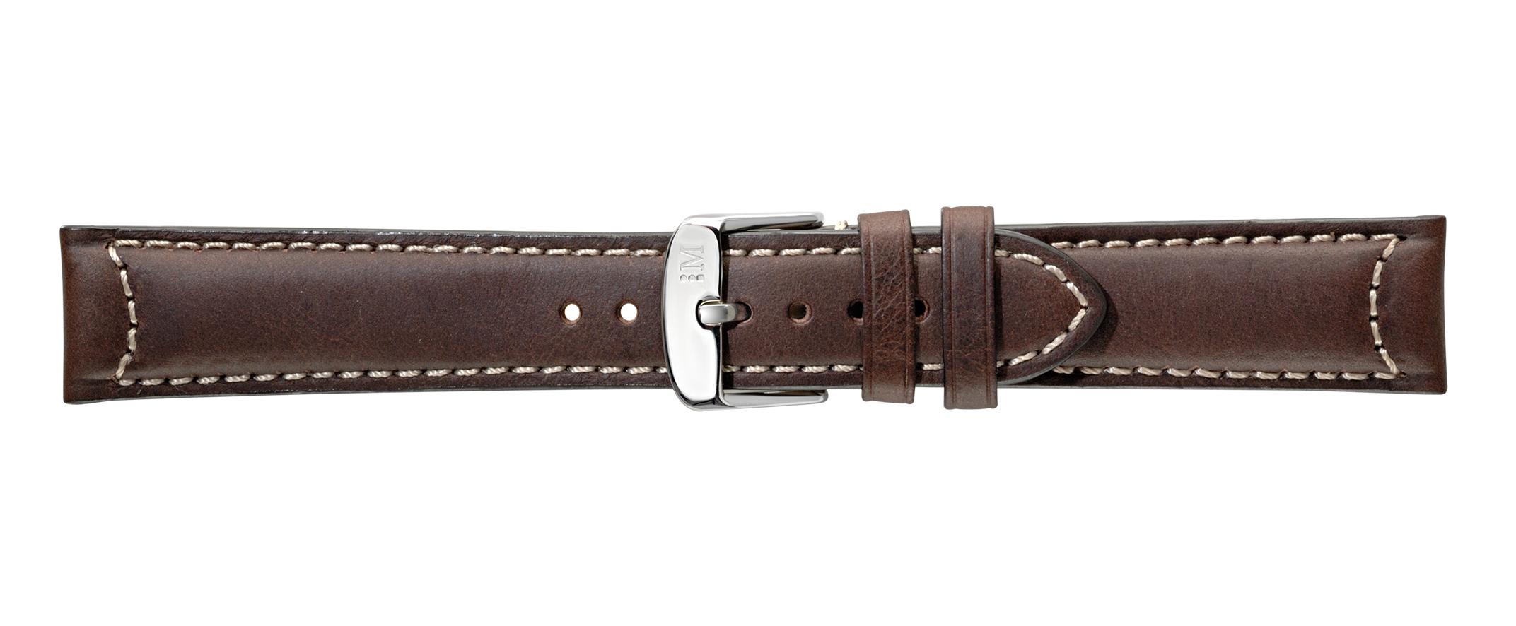 Morellato horlogeband Cezanne Hide X4273B09032CR22 / PMX032CEZANN22 Glad leder Bruin 22mm + wit stiksel