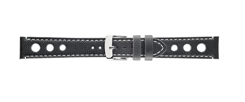 Morellato horlogeband Bowling X4498B24817CR22 / PMX817BOWLIN22 Glad leder Zwart 22mm + wit stiksel