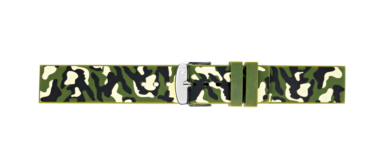 Morellato horlogeband Camouflage X4511187070CR22 / PMX070CAMOUF22 Rubber Olijfgroen 22mm