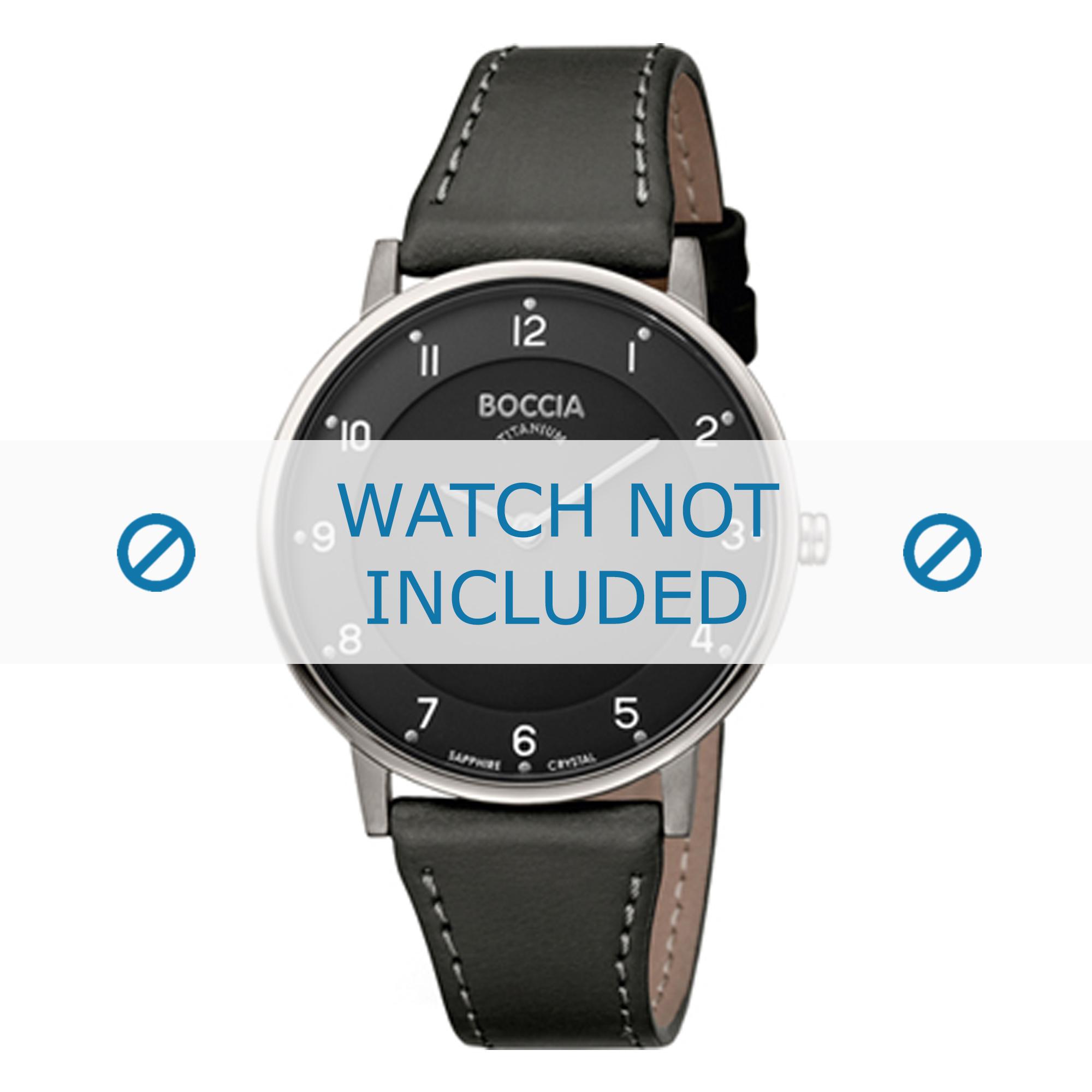 Boccia horlogeband 3259-02 Leder Zwart 18mm + wit stiksel