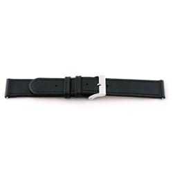 Echt lederen horloge band zwart 20mm met stiksel EX-J46