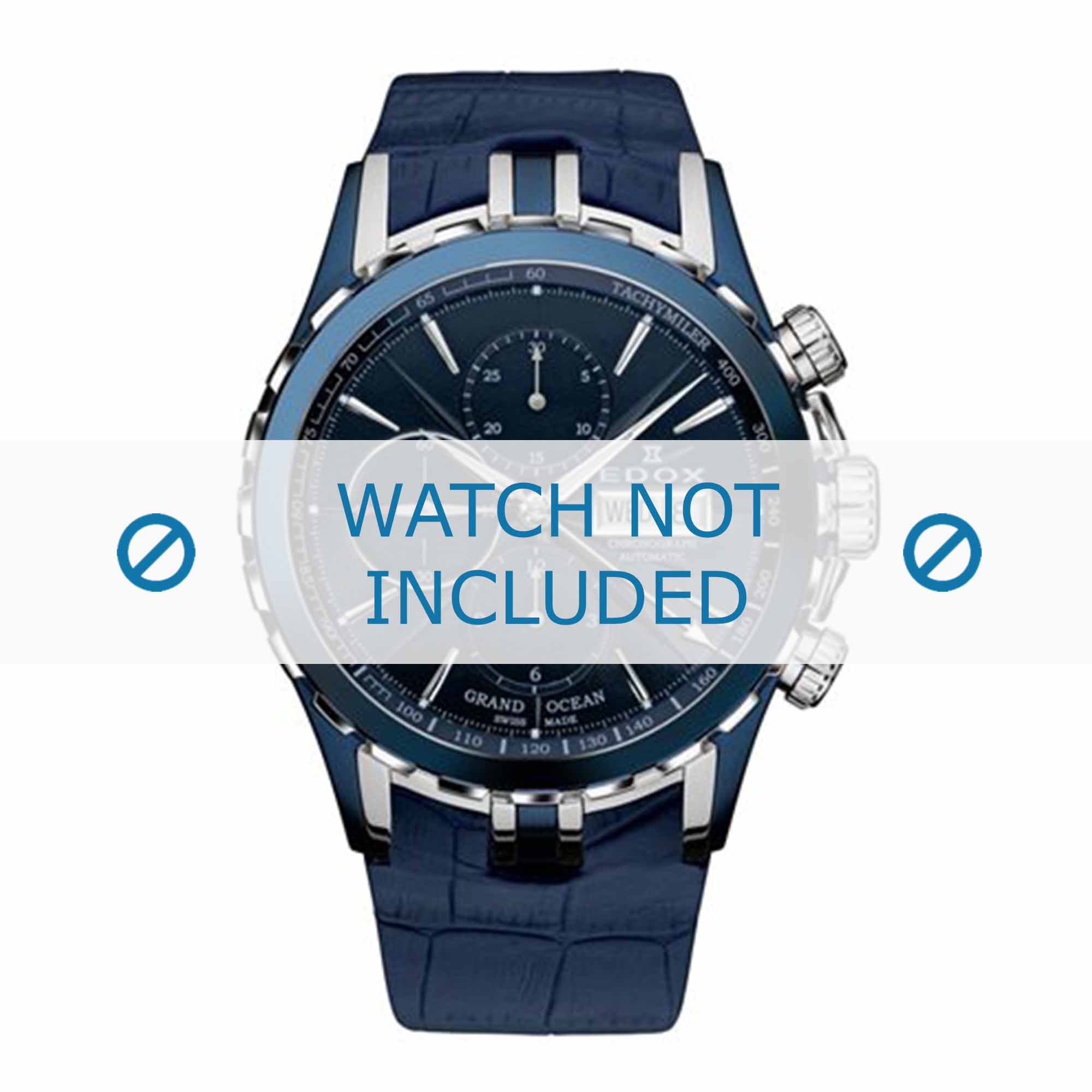 Edox horlogeband 01113-357B-BUIN Leder Blauw