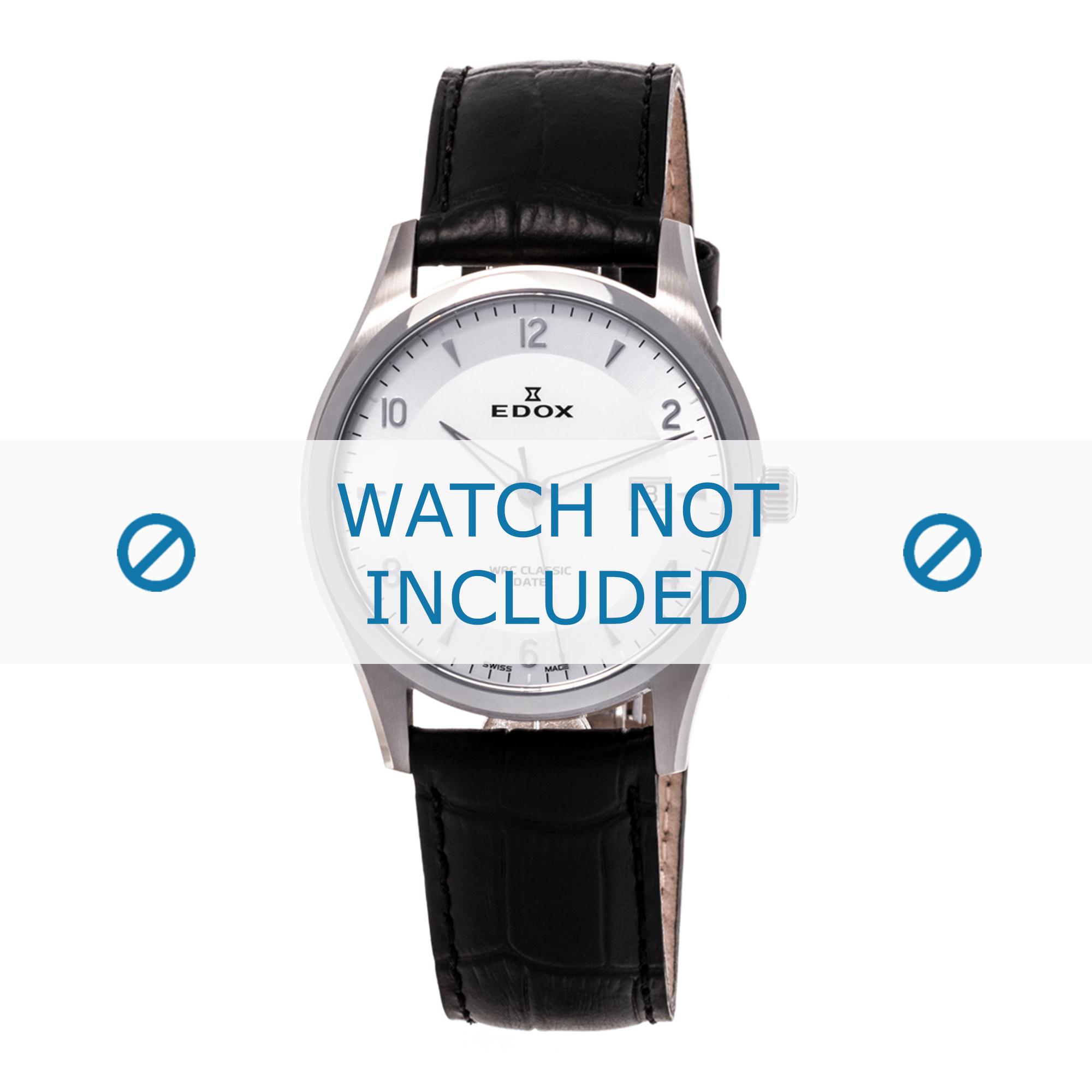 Edox horlogeband 70170-3-AIN-WRC Leder Zwart 21mm + standaard stiksel