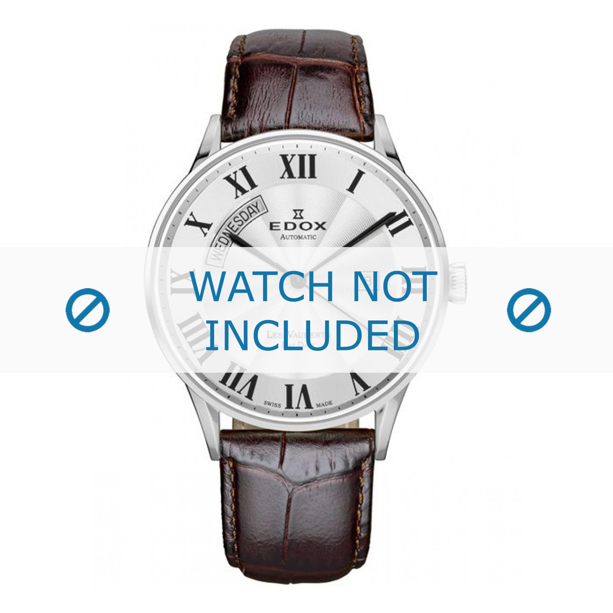 Edox horlogeband 83010-3B-AR Leder Donkerbruin + standaard stiksel