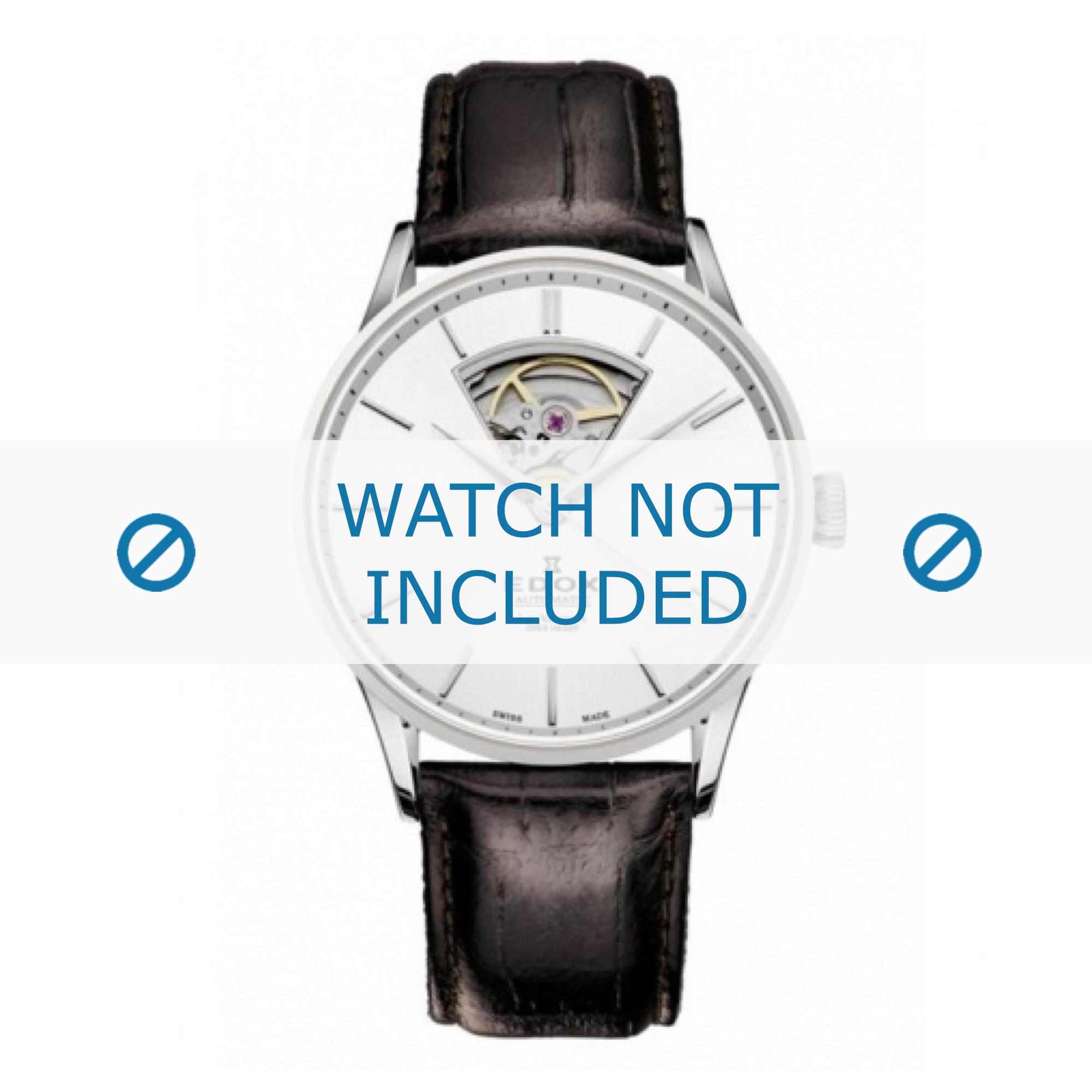 Edox horlogeband 85010-3-AIN Leder Zwart + standaard stiksel
