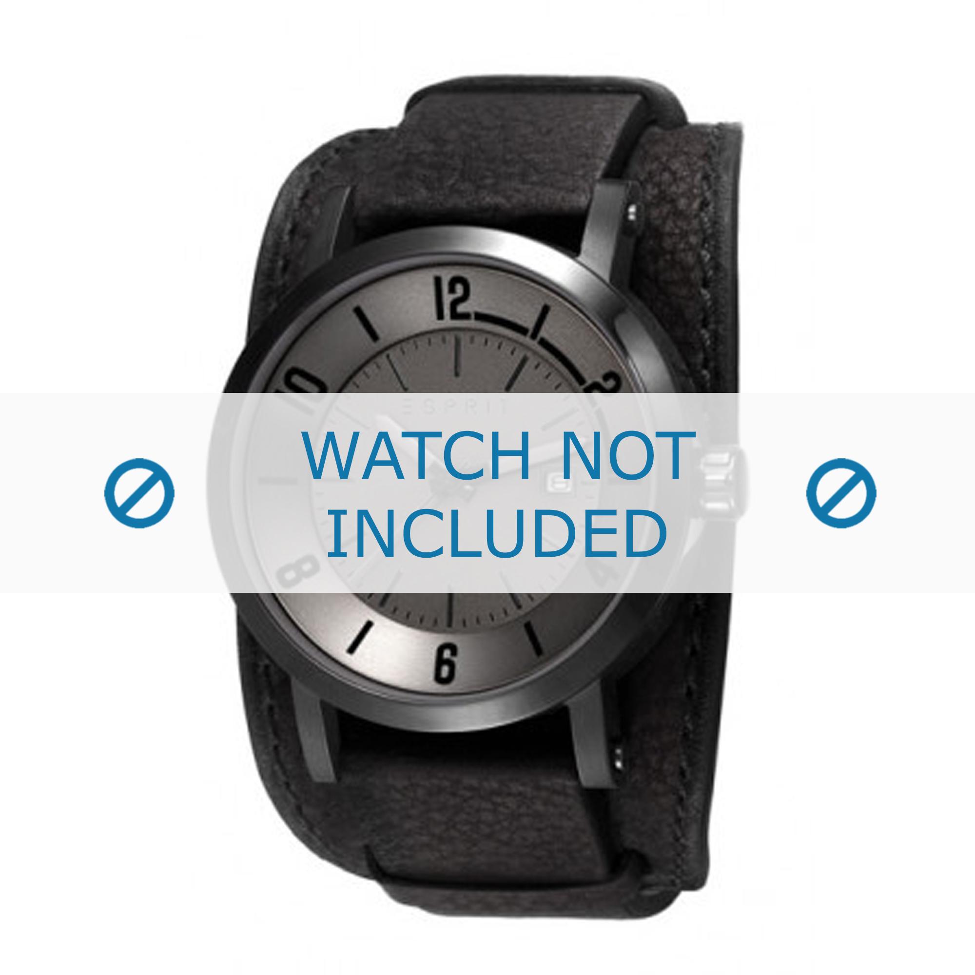 Esprit horlogeband ES108031-002 Leder Zwart + standaard stiksel