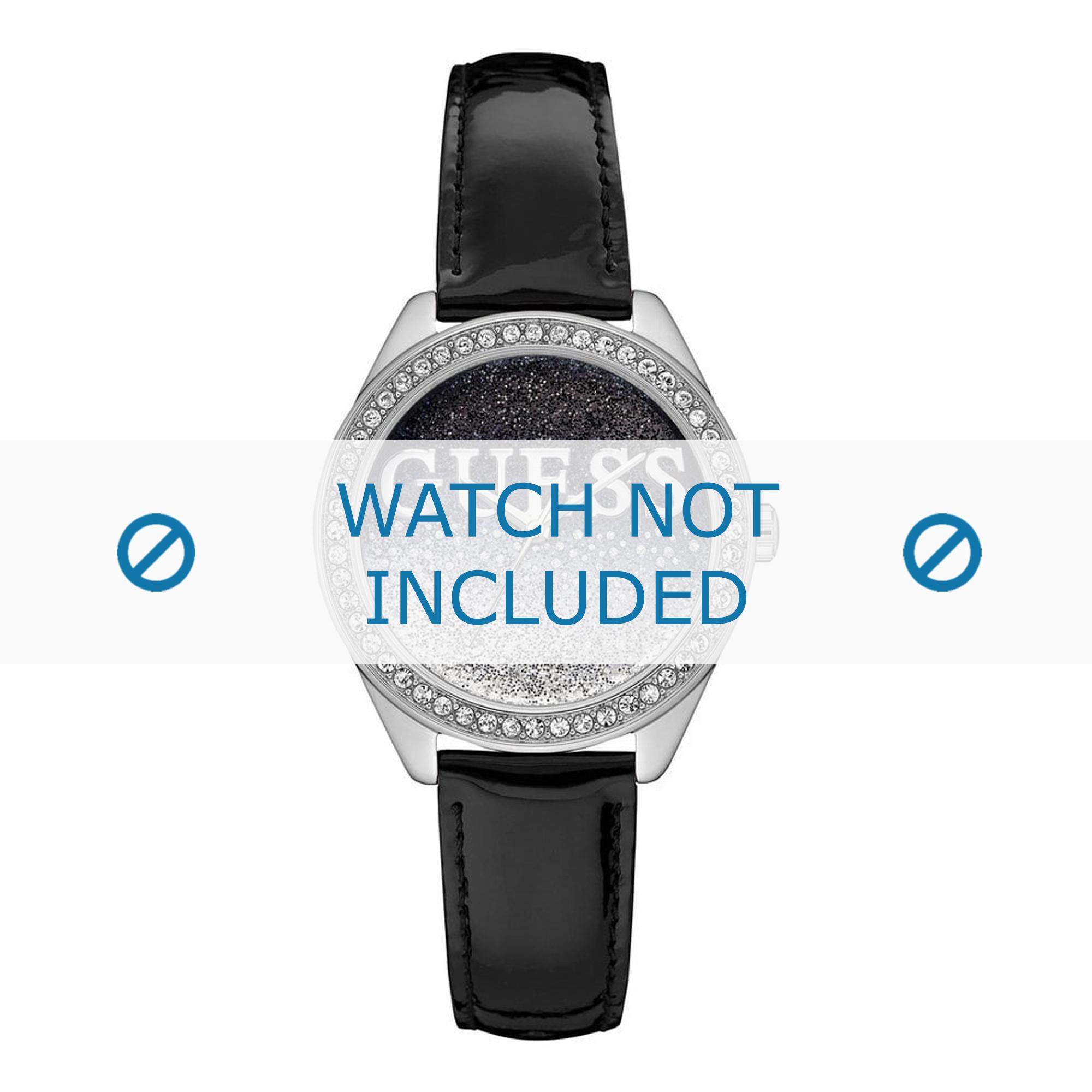 Guess horlogeband W0823L2 Glitter Girl Leder Zwart 16mm + standaard stiksel