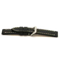 Horlogeband leder zwart 24mm EX-I109