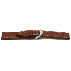 Echt lederen horloge band bruin met wit stiksel 24mm EX-H43