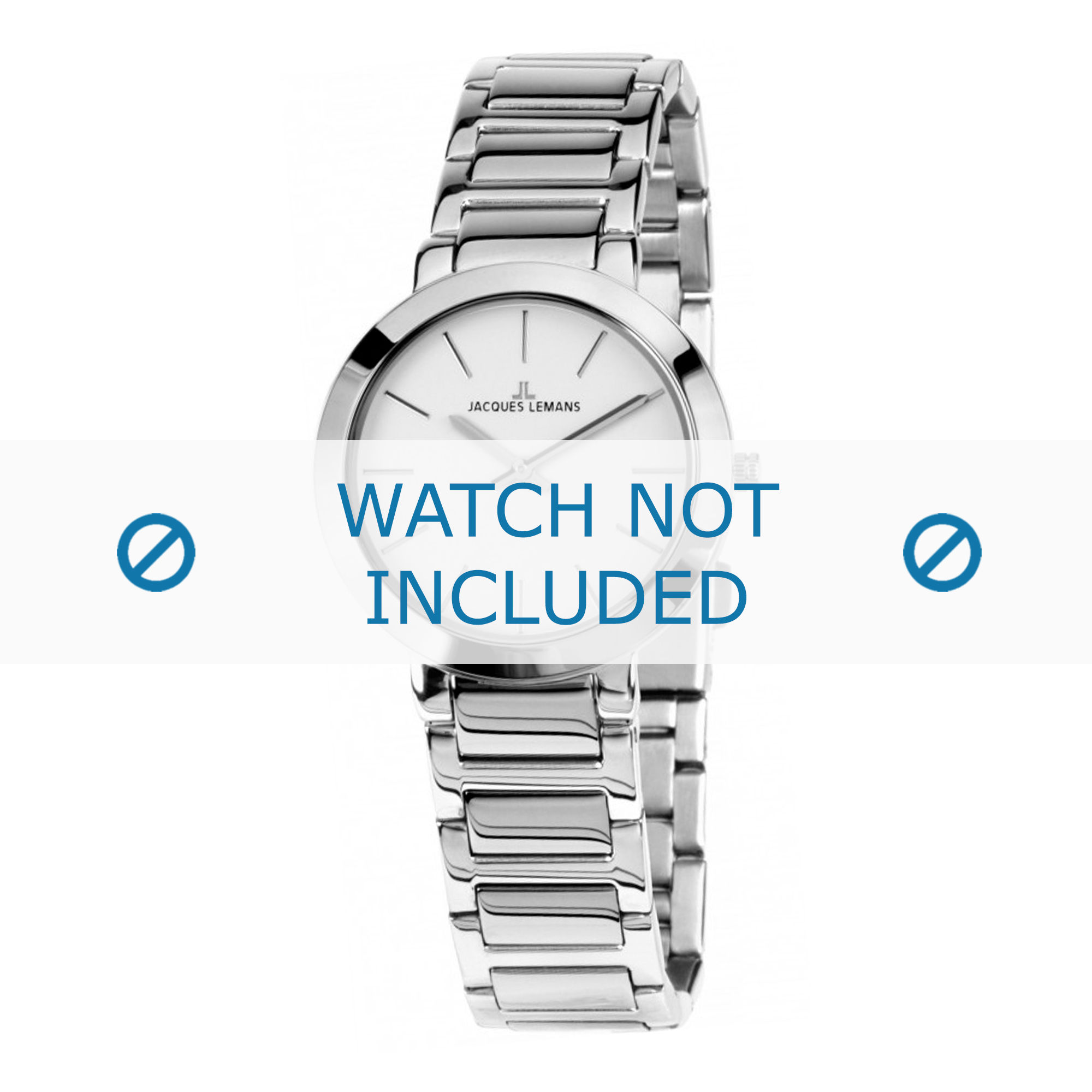 Jacques Lemans horlogeband 1-1842.1A Staal Zilver