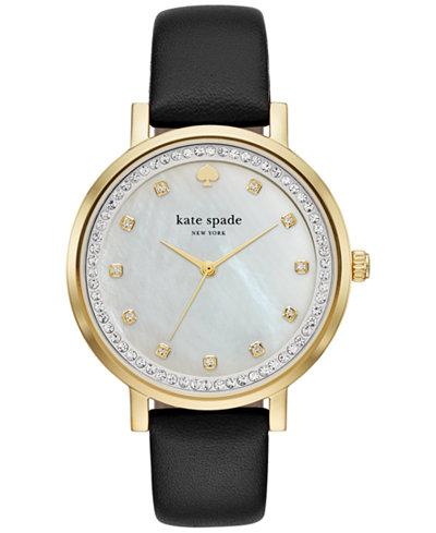 Kate Spade New York horlogeband KSW1206 / MONTEREY Leder Zwart