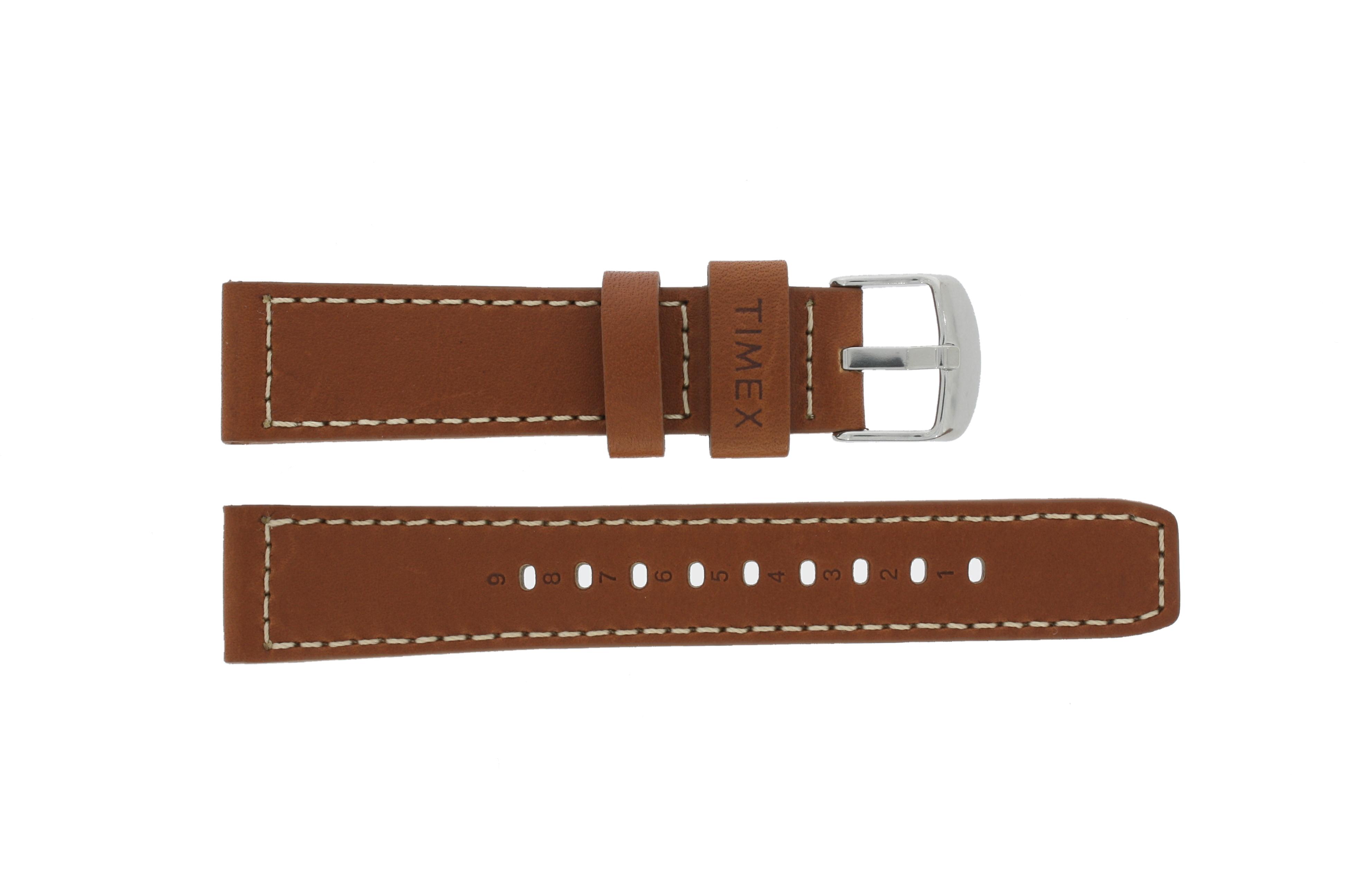 Timex horlogeband PW2P84000 Leder Bruin 20mm + wit stiksel