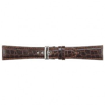 Leder kroko horlogeband donker bruin 18mm PVK-418
