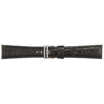 Leder kroko horlogeband zwart 16mm PVK-418