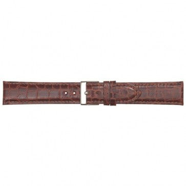 Leder kroko horlogeband bruin 20mm PVK-418