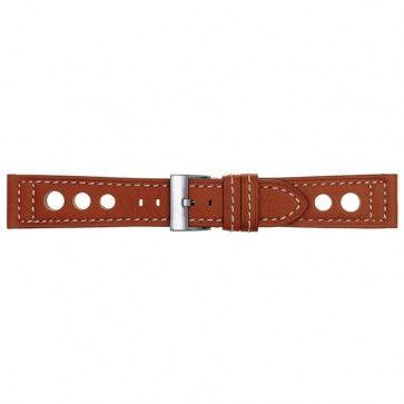 Leder horlogeband met stansgaten oranje 22mm 423F