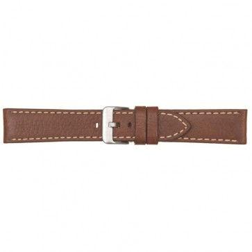 Horlogeband leer met stiksel donker bruin 22mm 460
