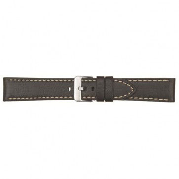Horlogeband leer met stiksel zwart 22mm 460
