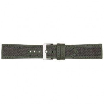 Horlogeband carbon donker groen 22mm PVK-865