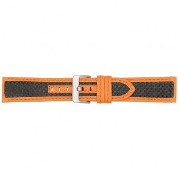 Horlogeband carbon oranje 24mm PVK-865