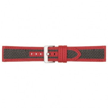 Horlogeband carbon rood 24mm PVK-865