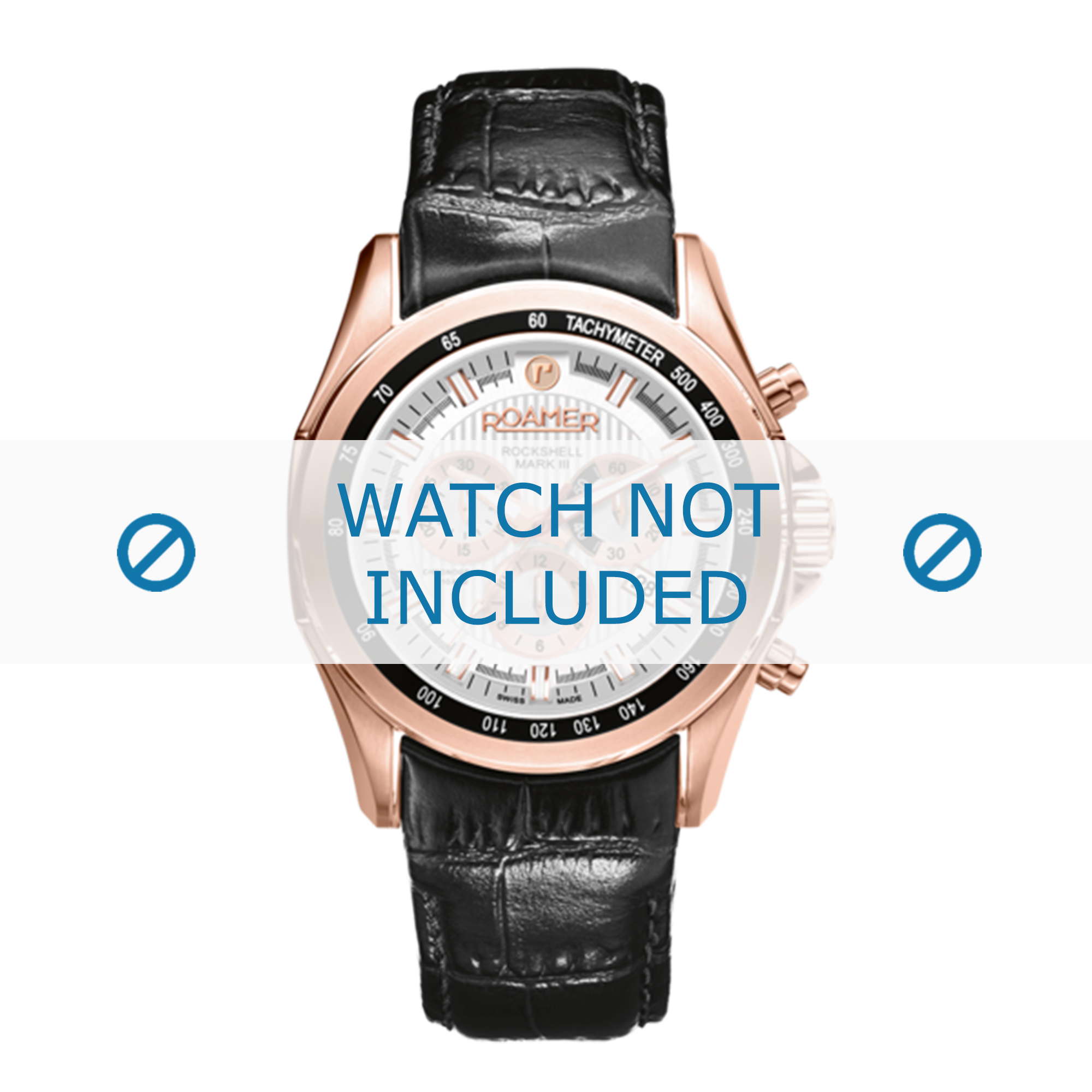 Roamer horlogeband 220837-49-25-02 Leder Zwart 22mm + standaard stiksel