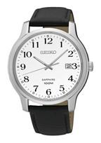 Seiko horlogeband SGEH69P1 / 7N42 0GE0 Leder Zwart 22mm + zwart stiksel