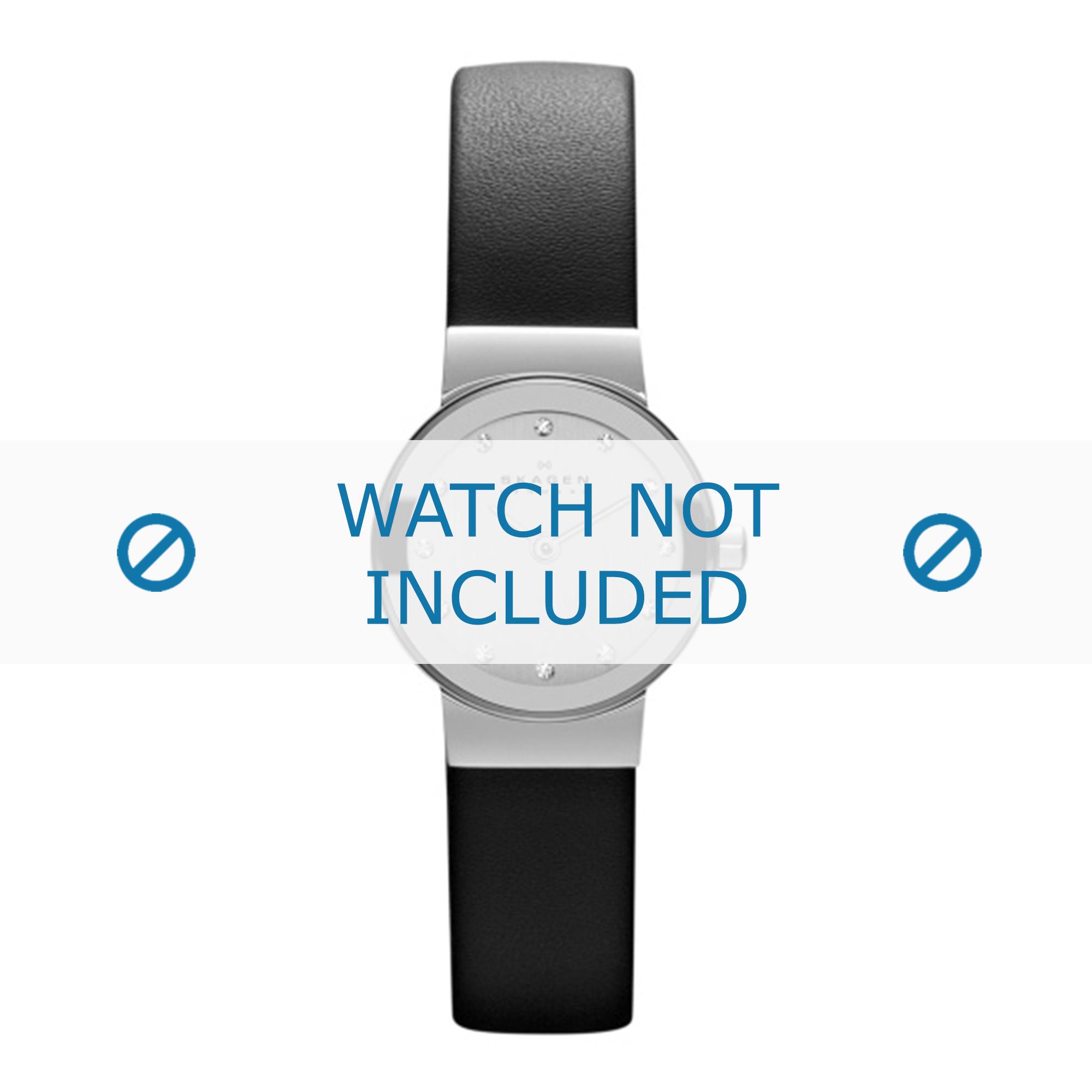 Skagen horlogeband 358XSSLBC Leder Zwart 12mm