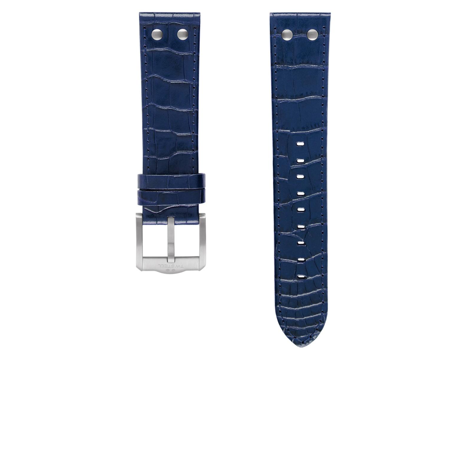 TW Steel horlogeband TWB1302 / TW1302 Leder Blauw 22mm + blauw stiksel