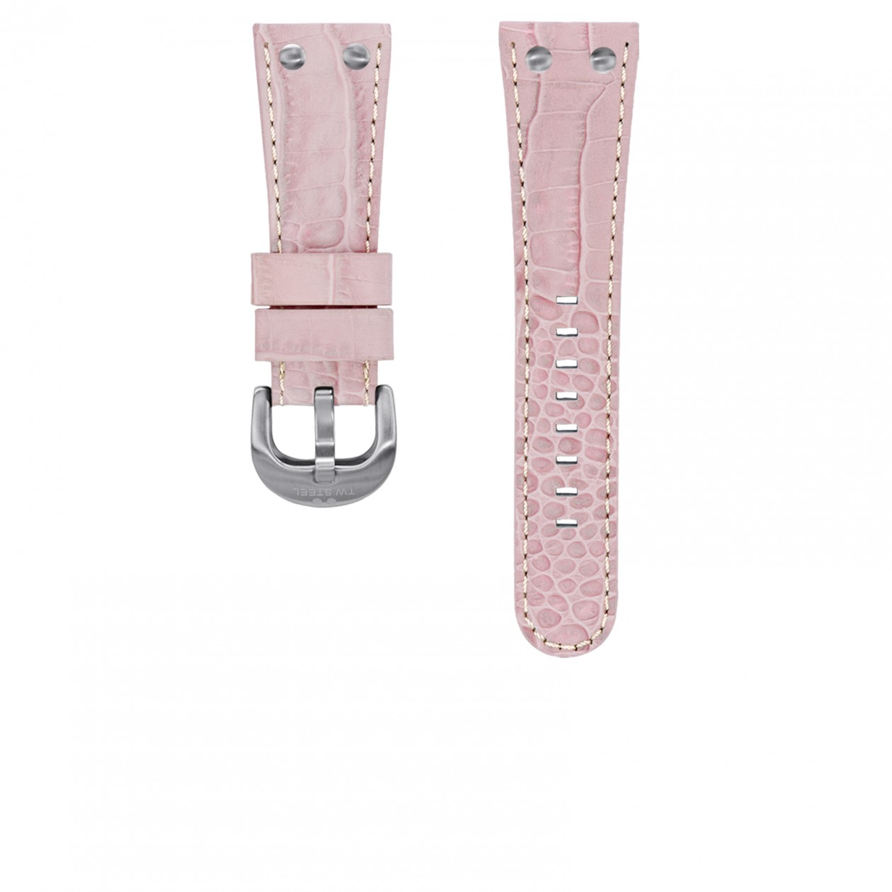 TW Steel horlogeband TWB79 Leder Roze 26mm + wit stiksel