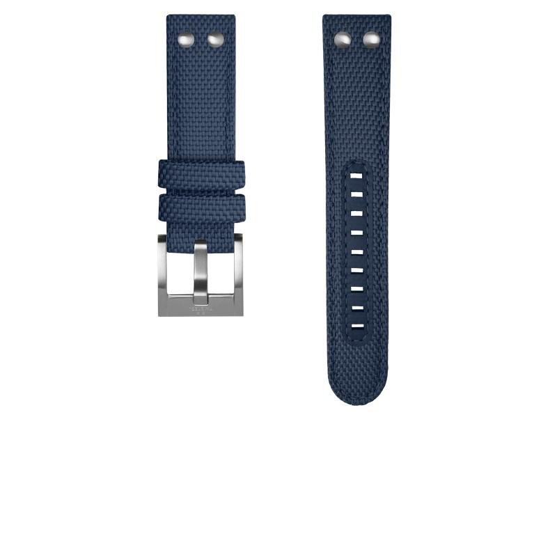 TW Steel horlogeband TWS606 Textiel Blauw 24mm + blauw stiksel